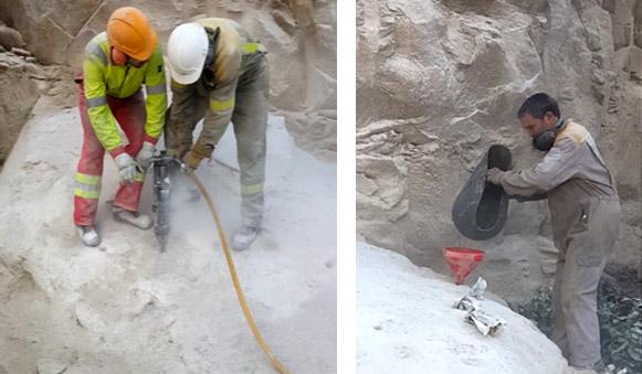 añadiendo cemento expansivo